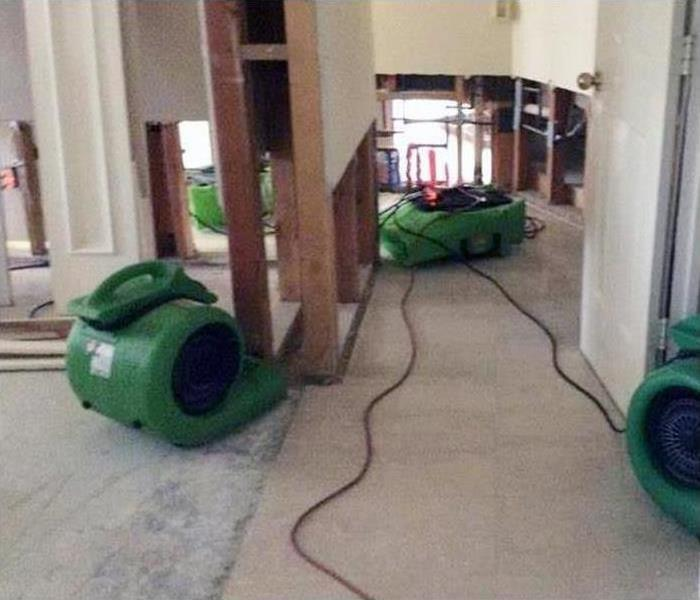 Our drying equipment machines set out in this property working to restore it after a flood