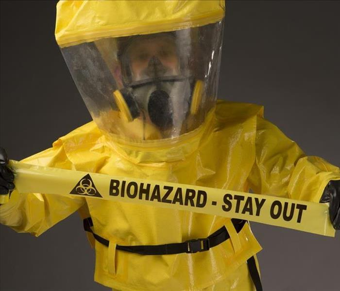 biohazard warning and suit
